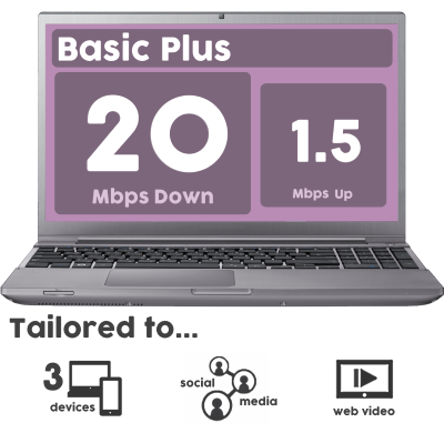 20mbps Basic Plus Internet Service Cheap and Unlimited